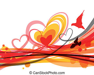 Horizontal abstract background with hearts, birds and...