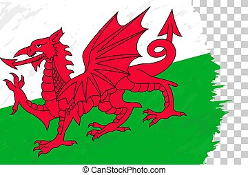 Horizontal Abstract Grunge Brushed Flag of Wales on Transparent Grid.