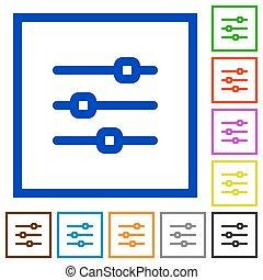 Horizontal adjustment framed flat icons - Set of color...
