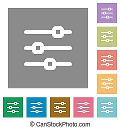 Horizontal adjustment square flat icons - Horizontal...