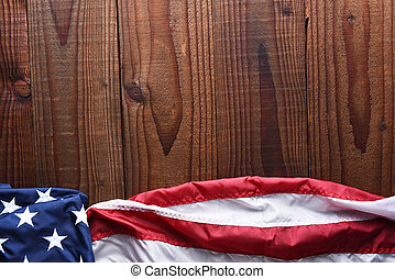 Horizontal American Flag on Wood - Top view of an American...