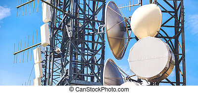 horizontal antenna background mass media tower pylons