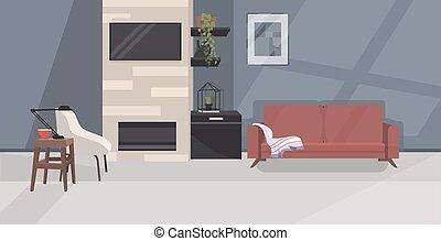 horizontal, appartement, élégant, salle de séjour, non,...