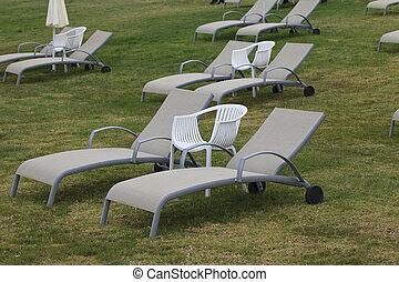 horizontal, aufenthaltsraum, close-up., stühle, rasen