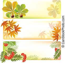 Horizontal autumn banners. Contains transparent objects. ...