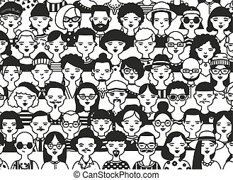 Horizontal backdrop with faces or heads of different people. Background with fashionable men and women hand drawn in black and white colors. Modern monochrome vector illustration in doodle style.