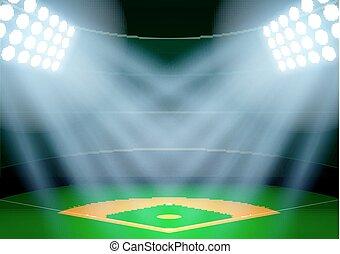 Background for posters night baseball stadium in the spotlight.