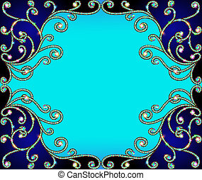 horizontal  background frame with gold ornaments of precious sto