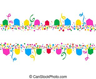 Horizontal background of party flags and colorful dots