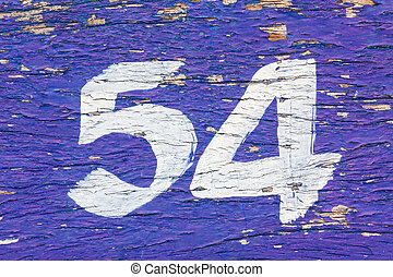 wood pine with white number 54