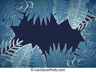 Horizontal background with blue tropical leaves