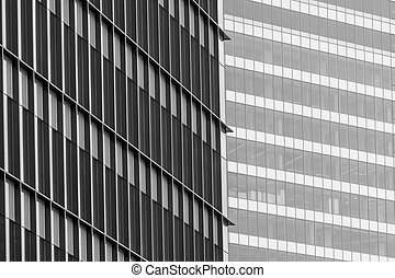 Horizontal background with building windows. Close up architecture abstracts from office buildings in downtown.