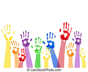 Horizontal background with colored paint hands - Vector...