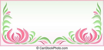 Horizontal background with floral pattern in pink and green