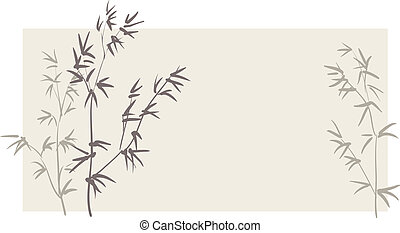 horizontal, bambou, branches, fond, chinois