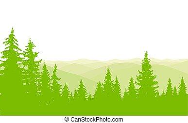 horizontal, bandera, de, conífero, madera