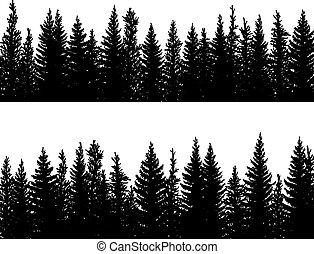 horizontal, bandera, picea, conífero, siluetas, forest.