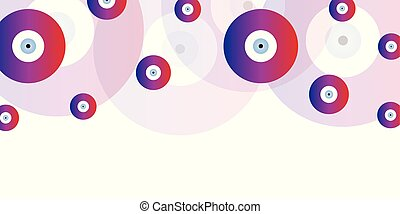 horizontal banner background with evil eyes in purple colors vector
