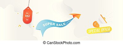 Horizontal Banner Big Sale 30 special offer. Paper airplane flying with red label on blue background with loudspeaker and clouds. Flat vector illustration EPS10.