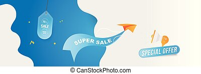 Horizontal Banner Big Sale 50 special offer. Paper airplane flying with red label on blue background with loudspeaker and clouds. Flat vector illustration EPS10.
