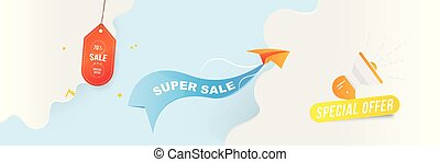 Horizontal Banner Big Sale 70 special offer. Paper airplane flying with red label on blue background with loudspeaker and clouds. Flat vector illustration EPS10.