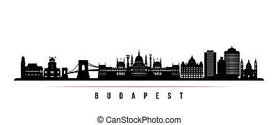 horizontal, banner., contorno, budapest