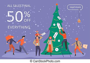 Horizontal Banner for Christmas sale. People running after...