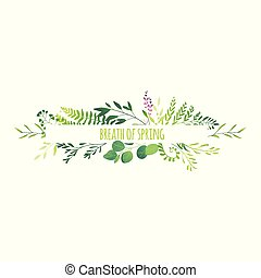 Horizontal banner - green leaves flowers branches