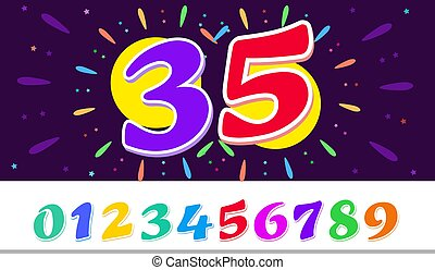 Horizontal banner Happy birthday Bright template with the number 35 in the circle of fireworks. Vector illustration on dark background.