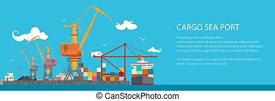 Horizontal Banner of Cargo Seaport