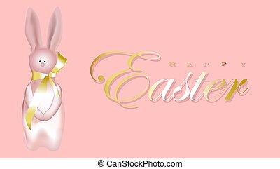 Horizontal banner, poster, header website. illustration. Easter holiday banner. Easter design with realistic holiday items, sparkling garland lights, a rabbit, a ribbon, shiny golden confetti..
