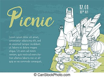 Horizontal banner, poster, picnic announcement or invitation template with traditional basket for outdoor dining hand drawn on green background and place for text. Monochrome vector illustration.