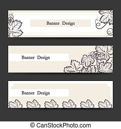 Horizontal banner set with grape leaves