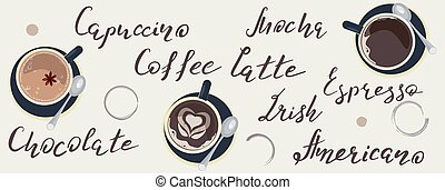 Horizontal Banner template with Coffee Lettering