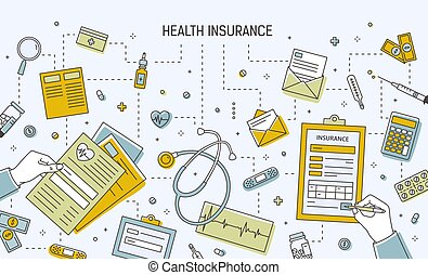 Horizontal banner template with hands filling out health insurance application form surrounded by medicines, medical tools, documents, money bills and coins. Vector illustration in line art style.
