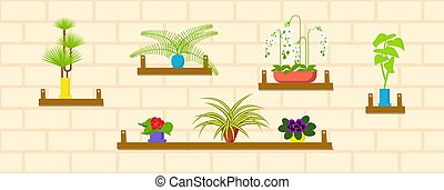 Horizontal Banner template with houseplants