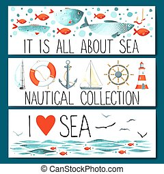 Nautical cruise elements set web banner add text vector clip horizontal banner templates with nautical elements pronofoot35fo Images