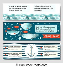 Horizontal banner templates with sea background.