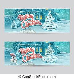 Horizontal banner - vector cartoon illustration Merry Christmas