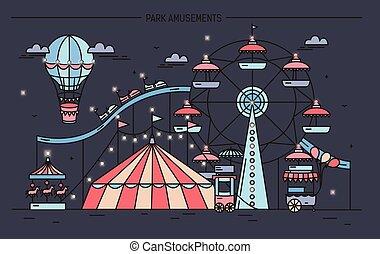 Horizontal banner with amusement park. Circus, ferris wheel,...