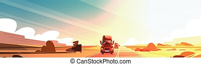Horizontal Banner With Big Semi Truck Trailer Driving On Coutryside Road Over Sunset Landscape