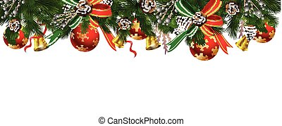 Horizontal banner with christmas tree garland and ornaments....