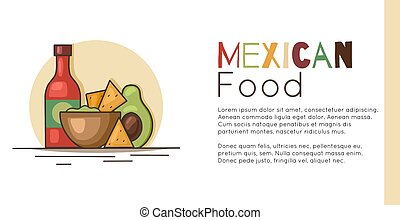 Horizontal banner with mexican food and place for text. Avocado guacamole with nachos corn chips, spicy sauce and lettering. Vector template