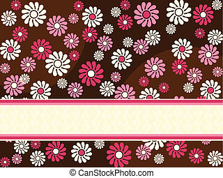 Horizontal banner with red flowers