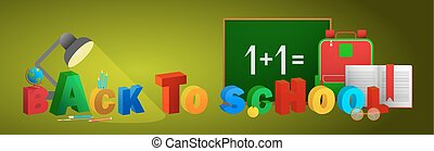Horizontal banner with school items. Vector flat design concepts of education. Education school icons set.
