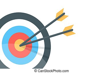 Horizontal banner with the image of an arrow and a target. Vector isolated illustration.