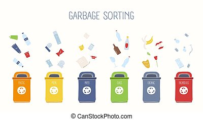 Horizontal banner with trash containers and various types of rubbish on white background - plastic, metal, glass, paper, organic, hazardous litter. Garbage sorting and recycling. Vector illustration.