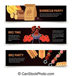 Horizontal banners barbecue, hamburgers and charcoal wood icons on black background