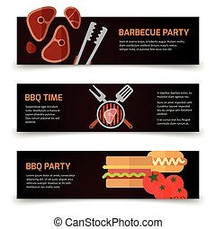 Horizontal banners BBQ, burgers and grill tongs on black background
