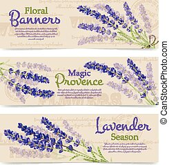 Horizontal Banners Of Lavender Flowers